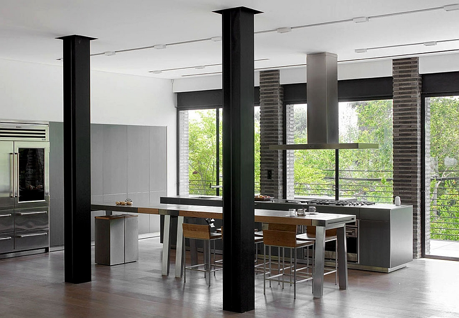 Exposed steel beams in the kitchen