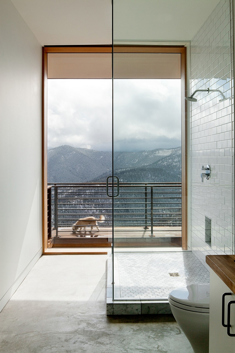 Glass shower enclosure connected with the deck space