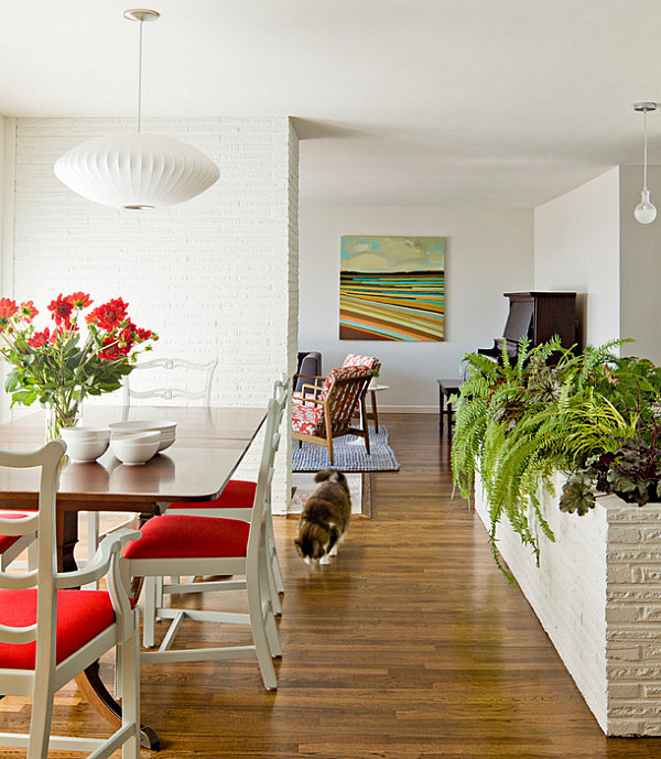 Indoor planter in a white-walled home