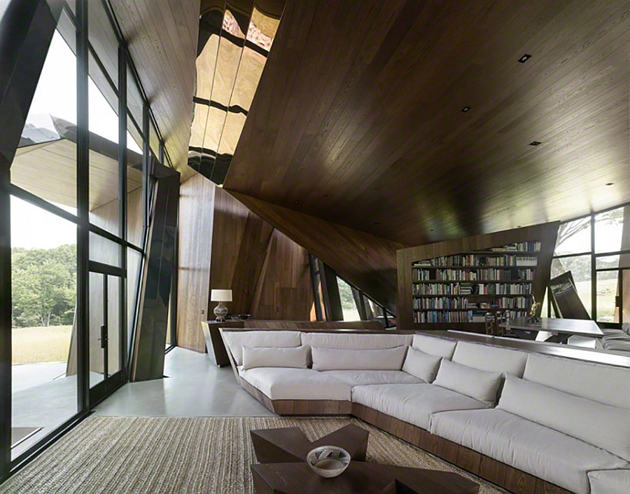 Living room of the stunning sculptural house