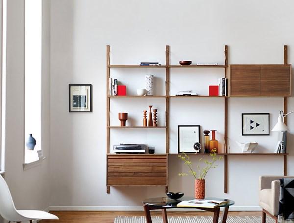 Modern wooden shelving