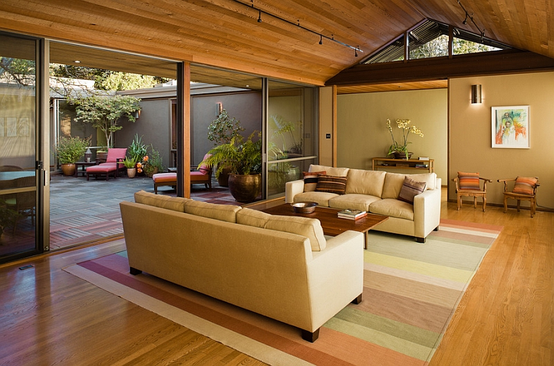 Private backyard connected to the living room