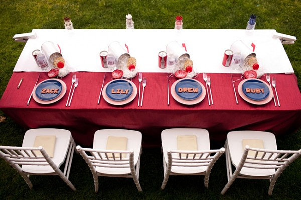 Red, white and blue kids' table