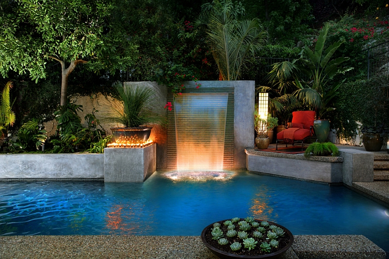 Sleek and stylish water feature for the modern pool