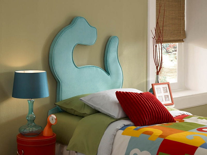 Super cool Dinosaur twin headboard for the boy's bedroom