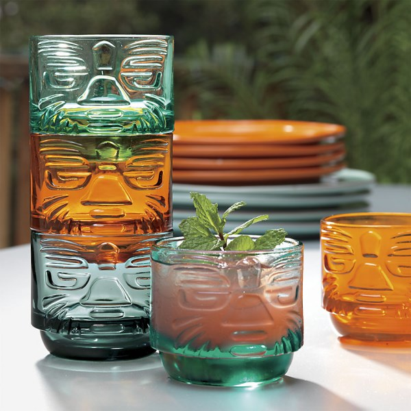 Tiki-motif glasses