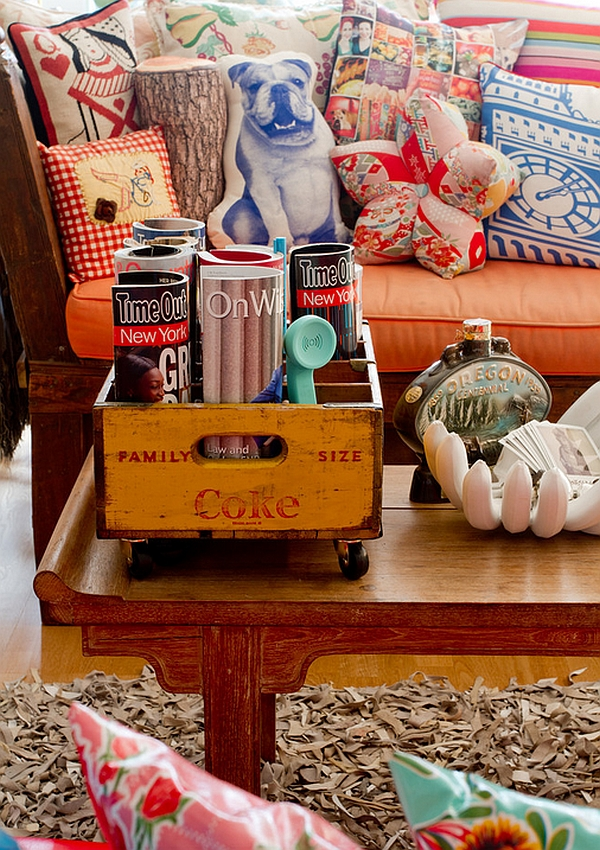 Vintage Coke crate transformed into a cool magazine holder