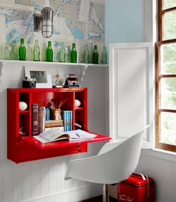 red fold down desk