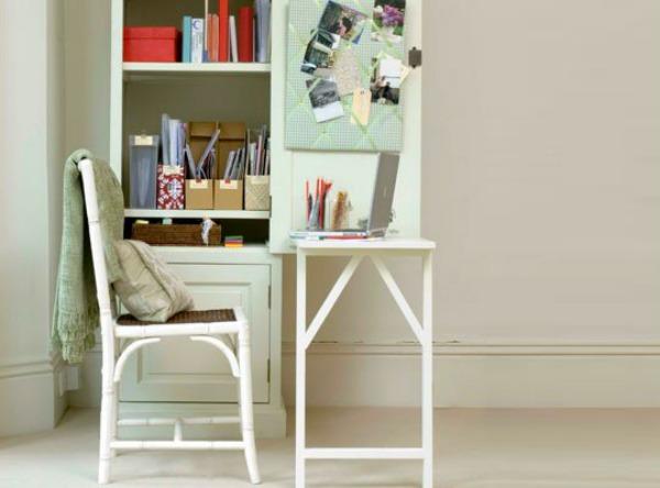 white fold down desk