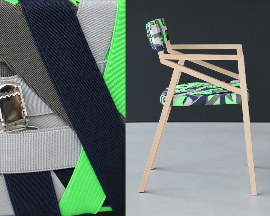 Bespoke wood chair wrapped in bright green and elegant grey