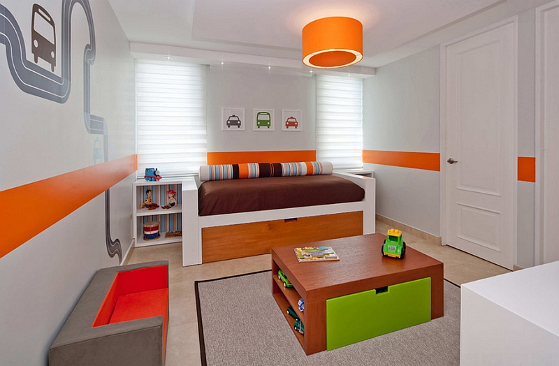 Brilliant contemporary kids' room can easily be transformed into a teen or adult bedroom