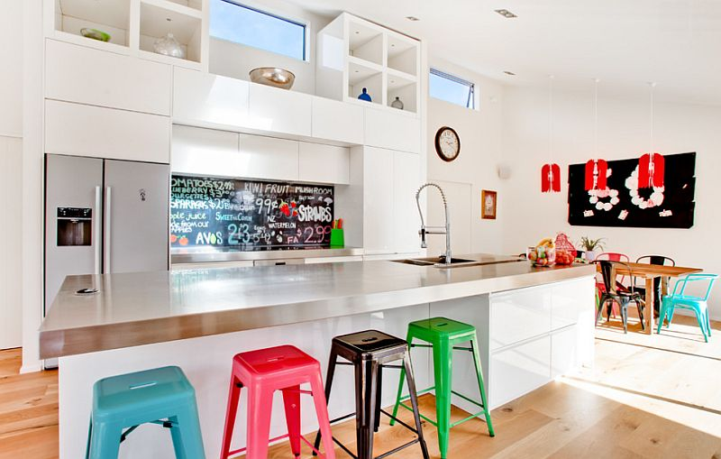Colorful and fun family-friendly kitchen