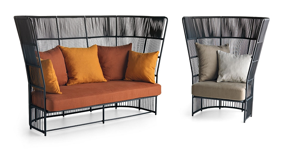 Comfy high back lounge chairs make a bold visual statement