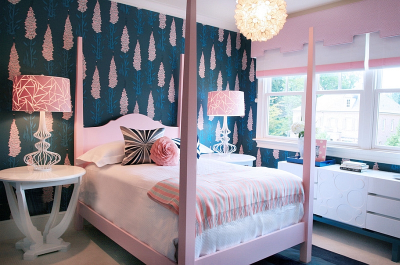 Cool navy and pink girls' bedroom