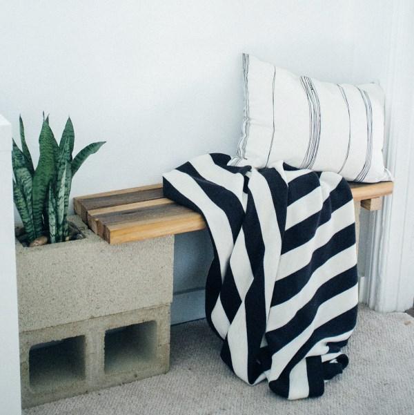 DIY modern cinder block bench