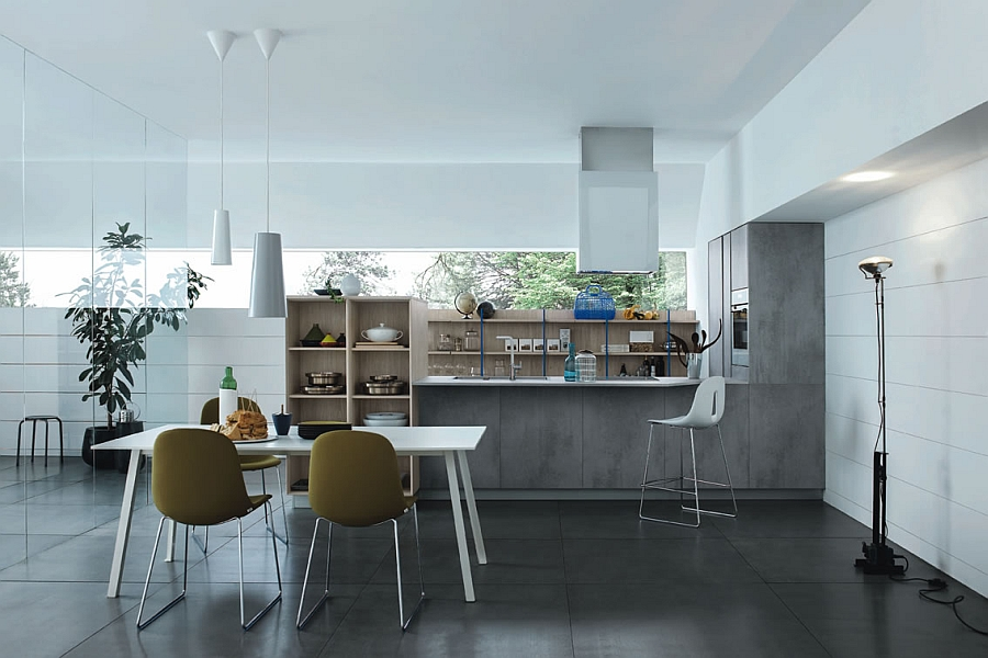 Exclusive Italian kitchen in light knotted larch melamine  and satin white lacquer finishes