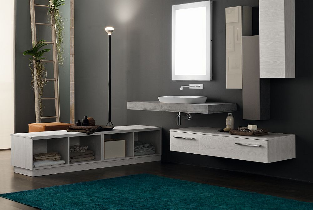 Floating vanity and storage shelves give the bathroom an airy appeal