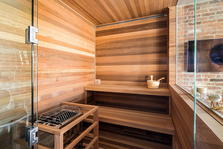 Home Sauna in New York City Penthouse connected with the bath