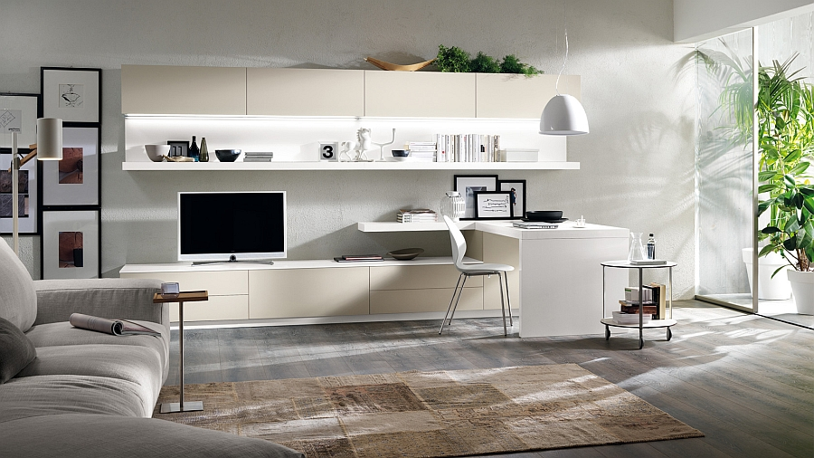 Relaxed and stylish living space includes a desktop for study