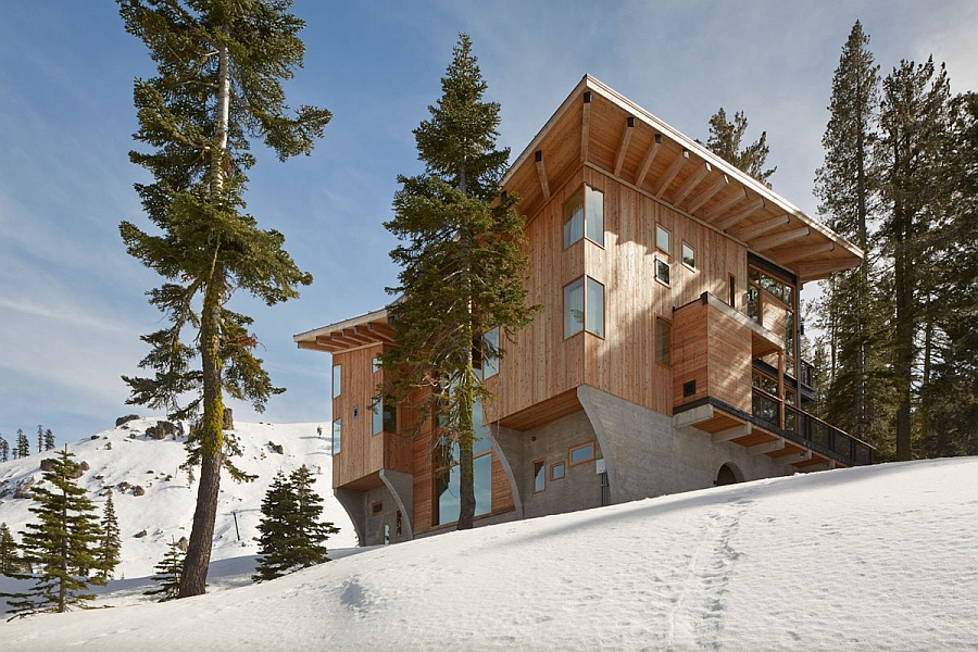Snow covered slopes around the trendy residence make it a perfect winter retreat