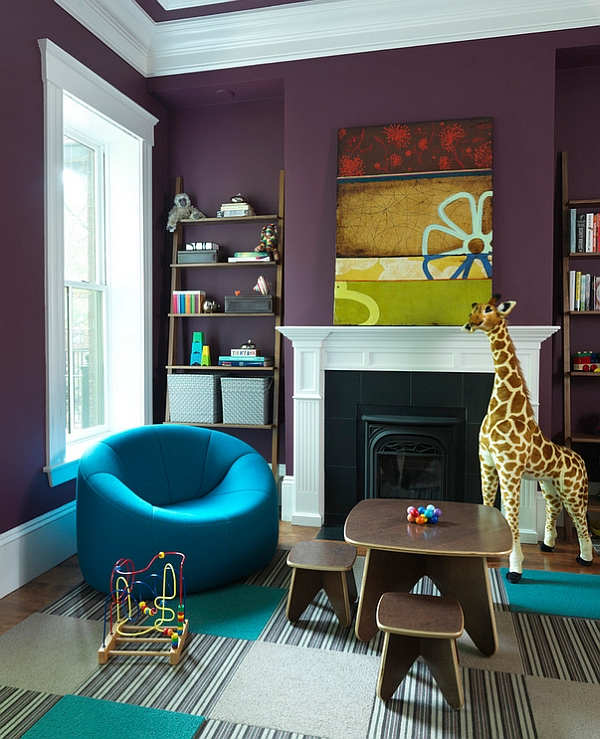 Stylish Kids' room with the Pumpkin-Chair in brilliant blue