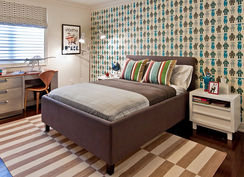 The cherner chair, workstation and the wallpaper in this kids' bedroom make it truly timeless