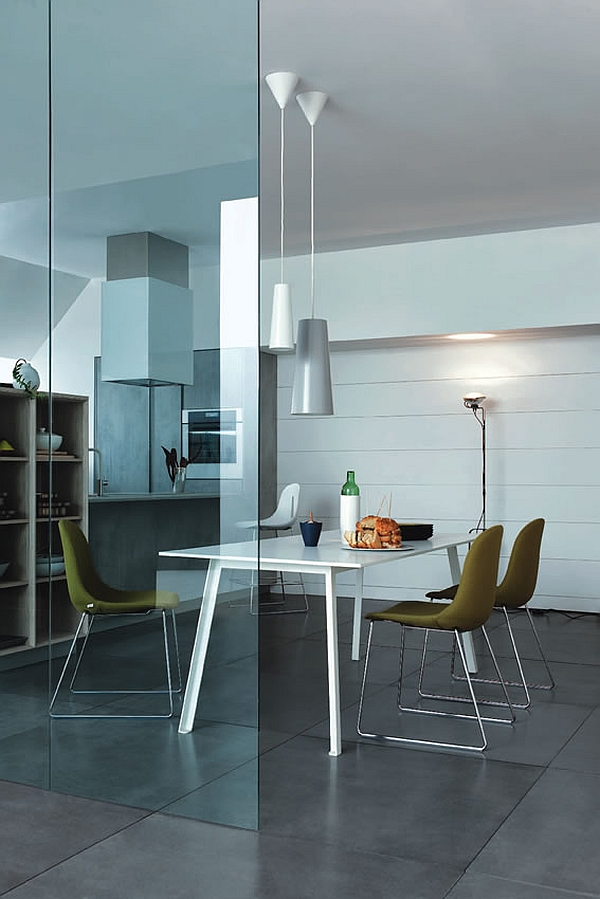 Trendy modern kitchen can be easily with living areas in an open floor plan