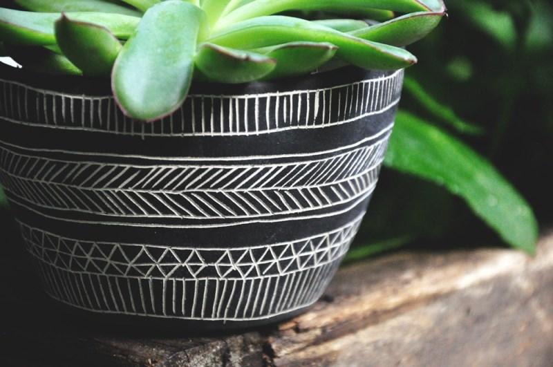Black and white geometric planter from Half Light Honey Studio