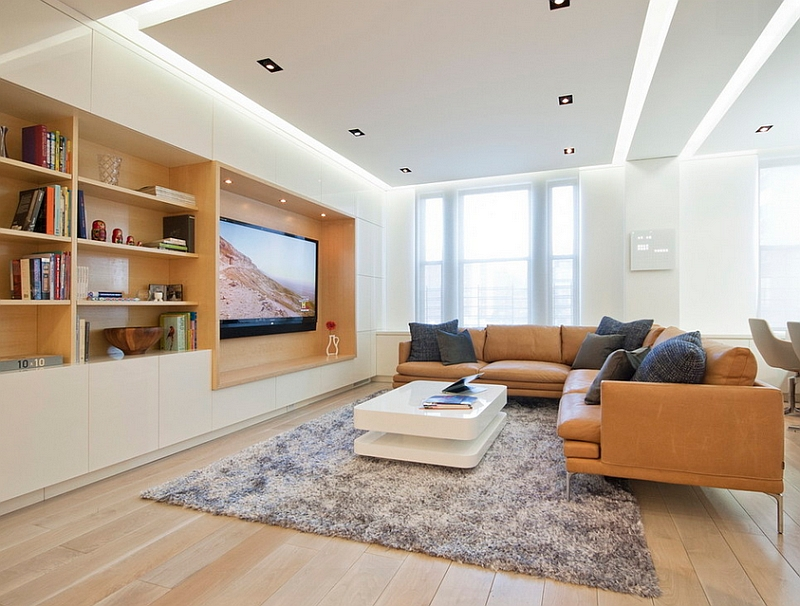 Evenly lit living room with warm wooden accents and plush decor