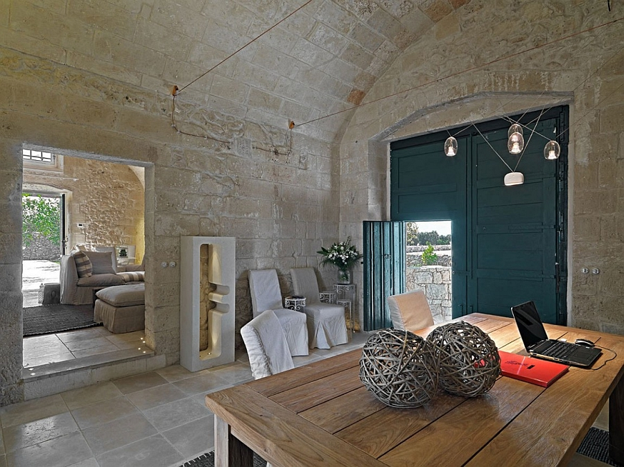 Interior of the suite rooms shaped by distinctive rural architecture typical to Salento