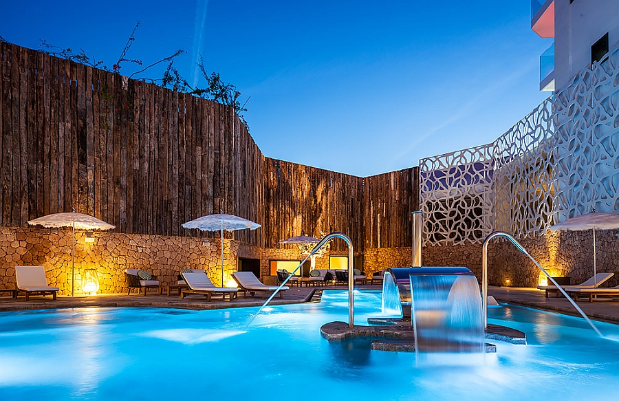 LED lighting brings the pool area of the Rock Spa in Ibiza alive