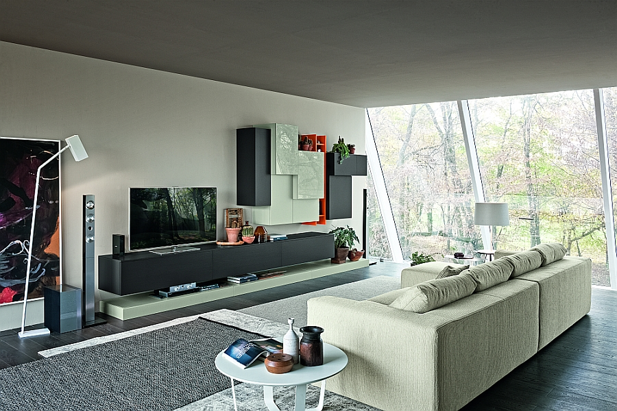 Living room wall unit composition with space for the flat screen TV and colorful cabinets