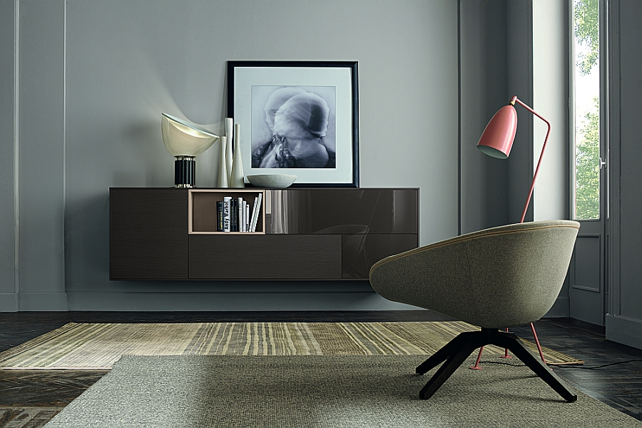 Lovely lacquered wall-mounted shelves for the living room and the home office
