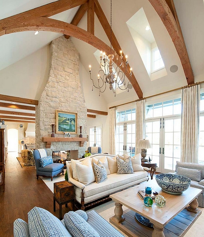 Skylights bring in ample ventilation in this room with vaulted ceiling