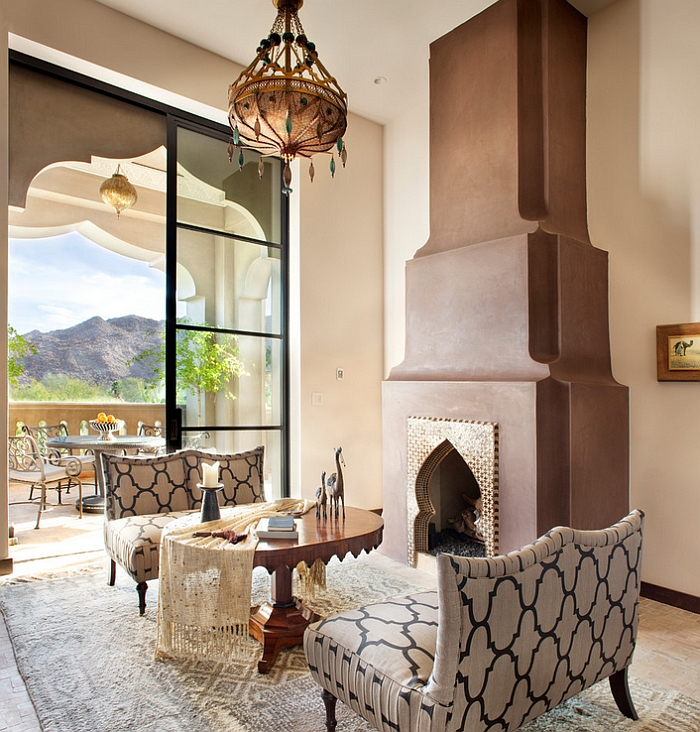 Smart Mediterranean living room with elegant Moroccan lighting and decor