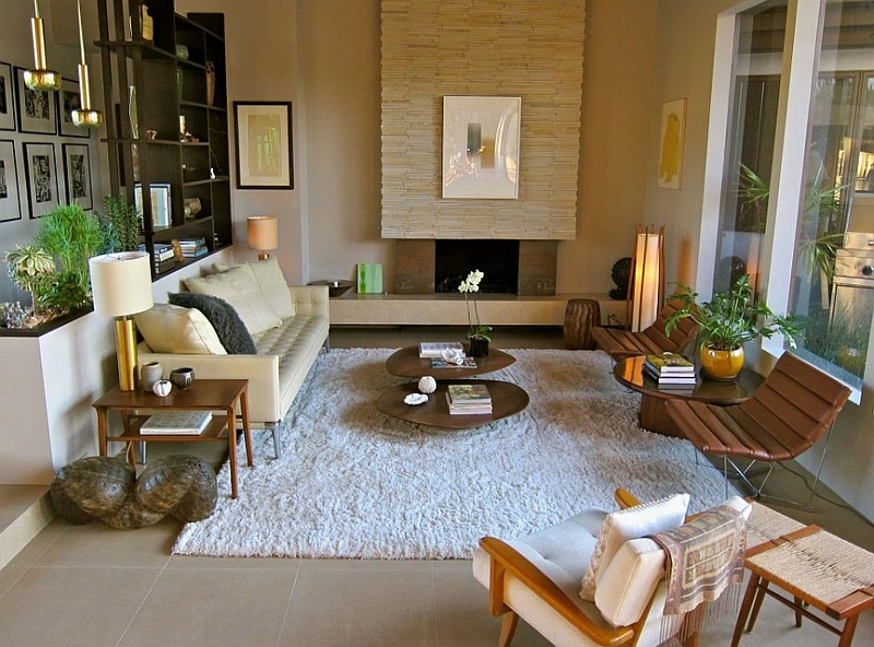 Sunken living room inspired by Mid Century Modern style