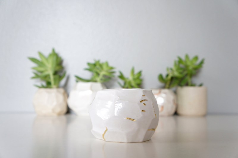 White faceted planters from The Object Enthusiast