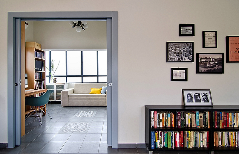 A view of the beautiful study and home office from the living room