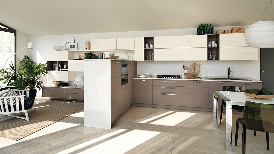 Beautiful kitchen composition that flows into the open plan living area