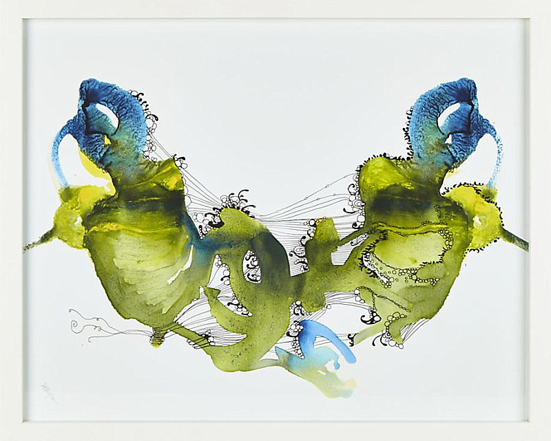 Blue, green and gold artwork from Crate & Barrel