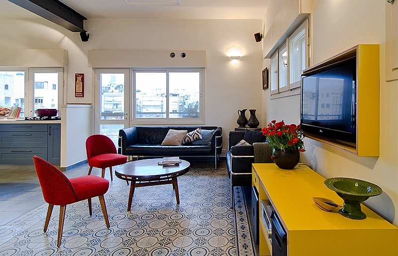 Bright yellow cabinets television niche add style to the space
