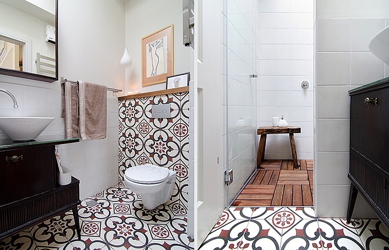 Colorful tiles in the small bathroom bring playful charm