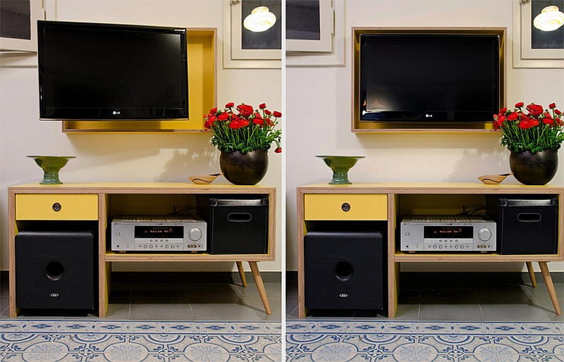 Custom made television frame and entertainment hub for the small apartment