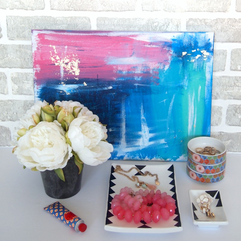 DIY wall art coupled with the cool Jewelry Tray