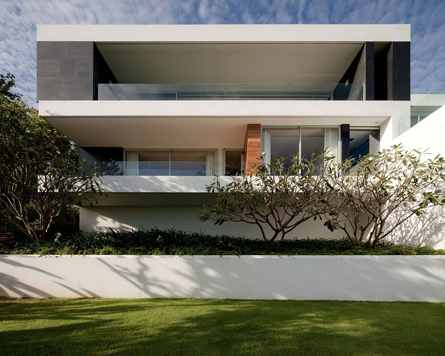 Facade of the three-storey private residence in Phuket