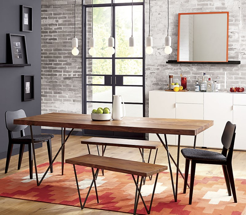 Grays and oranges in a modern dining room