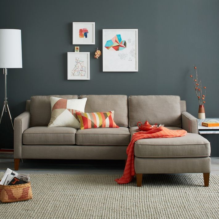 Grey and orange color scheme is very on trend