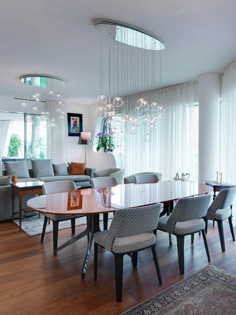 Lighting plays a pivotal role in shaping the trendy living space of the apartment