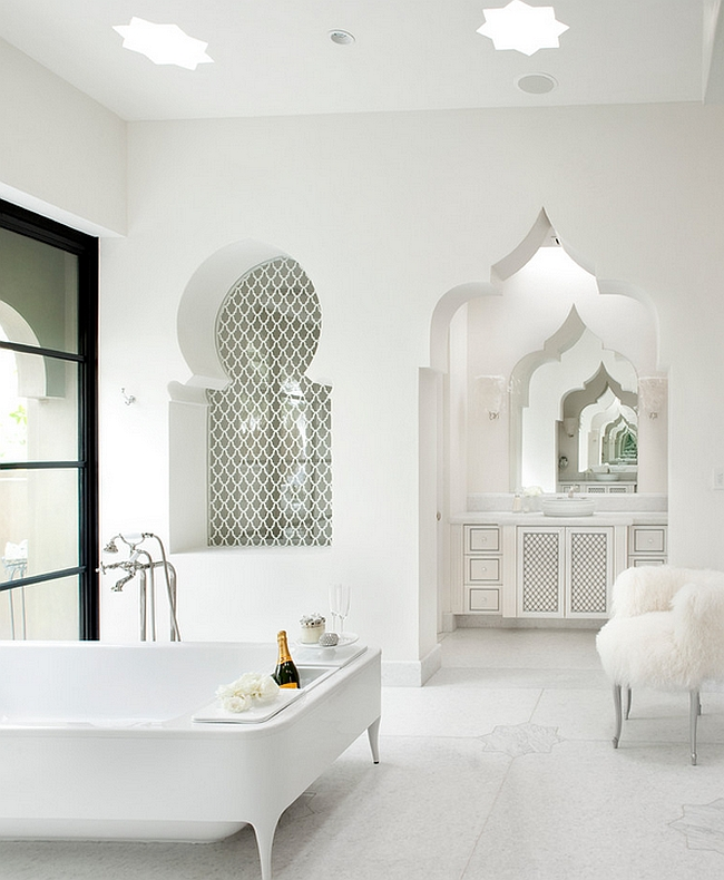 Luxurious contemporary bath uses the Moroccan architectural elements without bright colors and patterns