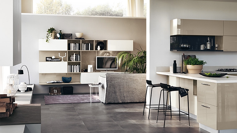 Open Living room wall unit system that extends into the kitchen and dining